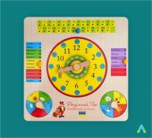 фото - Годинник та календар на дерев'яному планшеті