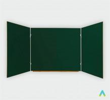 фото - Дошка аудиторна, 3-створчата, зелена, 4000х1000 мм, магнітна під крейду, лоток під крейду, 5 робочих поверхонь.