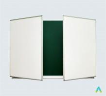 фото - Дошка аудиторна 3х – створчата 3000х1000 мм  (зелена+біла)  КОМБІНОВАНА