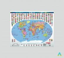 Світ. Політична карта, м-б 1:70 000 000 (на планках ламінована)
