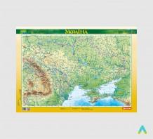 фото - Україна. Фізична карта, 1:2 500 000 (ламінована, на планках)