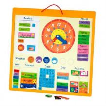 фото - Магнітний календар з годинником, англійською мовою