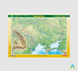 фото - Україна. Фізична карта, м-б 1:2 500 000 (ламінована на планках)