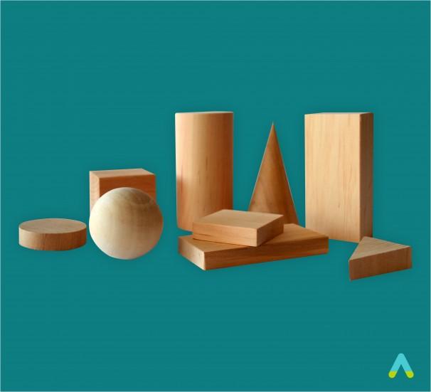 Набір моделей геометричних тіл та фігур (дерево, лаковані) 9шт - фото