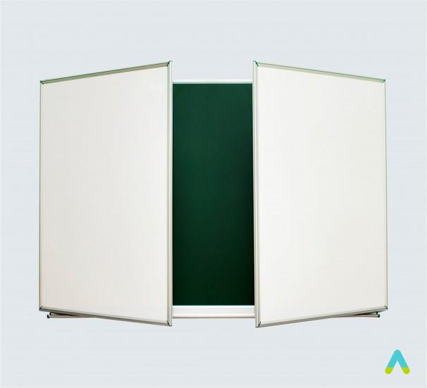 Дошка аудиторна 3х – створчата 3000х1000 мм  (зелена+біла)  КОМБІНОВАНА