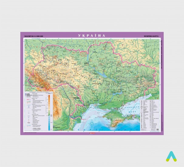 Україна. Фізична карта, м-б 1:1 000 000 (на картоні, на планках ) - фото