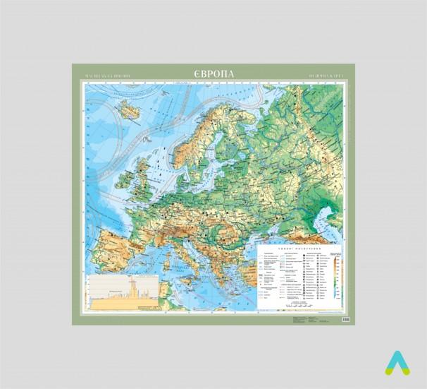 Європа. Фізична карта - фото