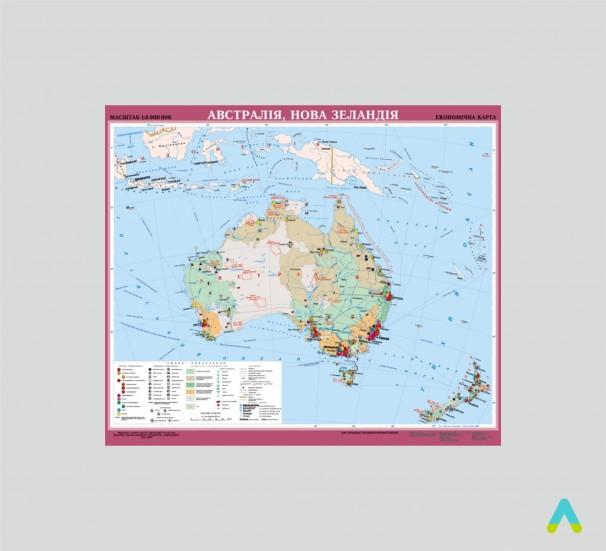 Австралія, Нова Зеландія. Економічна карта - фото
