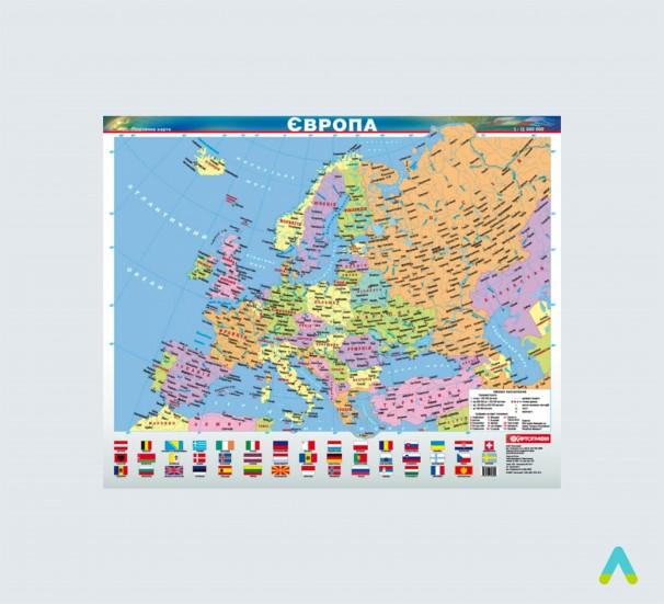 Європа. Політична карта, м-б 1:12 000 000 (ламінована на планках)