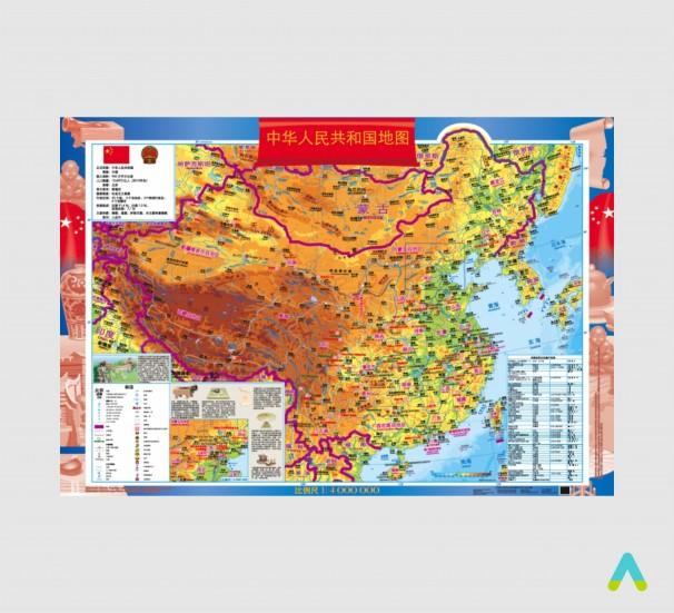 Китай. Навчальна з/г карта (на картоні на планках) (китайська мова) - фото