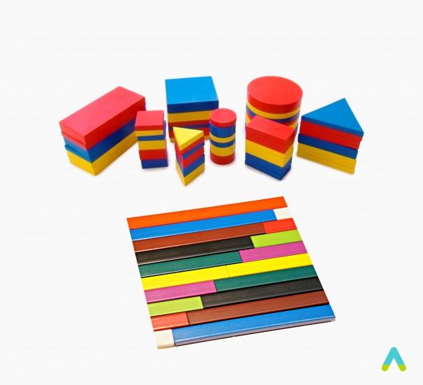 Комплект дидактичного приладдя ( Рахункові палички Кюізенера та Блоки Дьенеша)