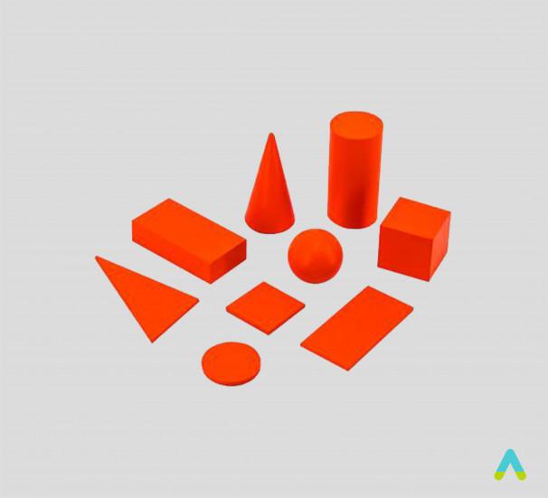 Демонстраційний набір геометричних тіл та фігур на підставках - фото