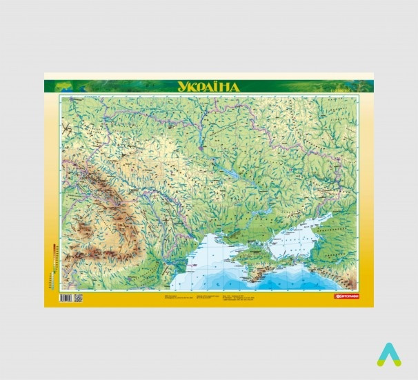 Україна. Фізична карта - фото