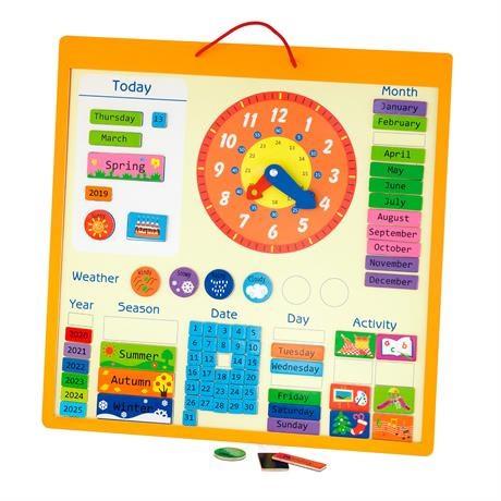 Магнітний календар з годинником, англійською мовою  - фото